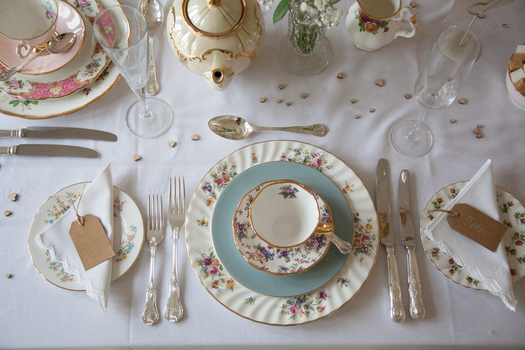 Mismatched wedding place setting