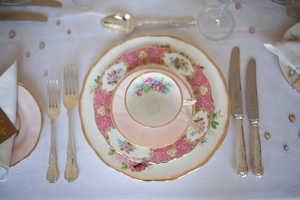 Pink wedding place setting